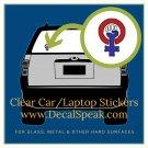 Feminist Protest Symbol Clear Car/Laptop Sticker