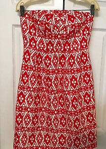 J. Crew Tribal Print Strapless Dress Size 6 Southwest Red & White Never Worn 6