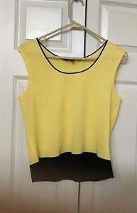 Ming Wang Yellow Tank Top Size S  Acrylic Knit Sleeveless  Black Trim 6 8
