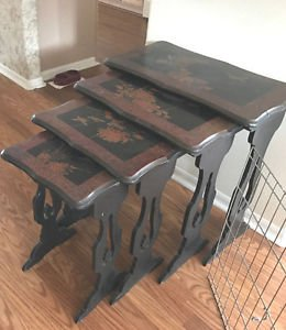 1885 CHINESE CARVED HARDWOOD HAND PAINTED NEST 4 TABLES ANTIQUES BIRDS FLORAL