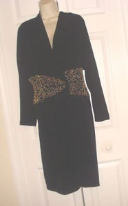 VINTAGE Lillie Rubin Black Cocktail WRAP Dress/Coat Gold Beaded Mid BLING SZ 8