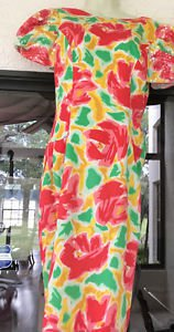 Vintage 80s Sequin Morton Myles FLORAL BOLD Puff SLEEVE Dress sz:8 PIN TUCKS NEW