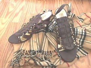 Michael Kors Brown  Sandals With Bling!  Studded Leather Hi Heels Size 8.5 M.