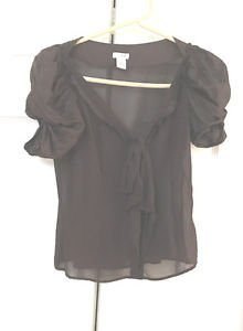 Anthropologie Odille Silk Blouse Top Size 0 Sheer Brown  Romantic Elegant EUC 0