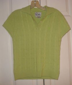 """LILLY PULITZER CASHMERE SWEATER Size S  POLO CABLE KNIT  PRISTINE BUST 32"""" Lime"""