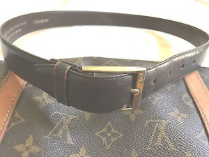 YVES SAINT LAURENT BELT BROWN LEATHER WOMENS SIZE 34