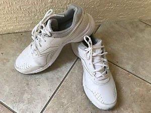 REEBOK DMX Ride White  Gray Pin Stripe Mens Walking Sneakers Sz 9M Very Good