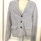 Lilly Pulitzer Seersucker Jacket Blazer Coat Blue Brant Ladies Sz 8  $298 EUC 8