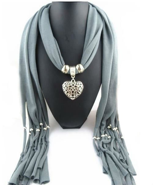 Grey Scarf Double Sided Heart Pendant