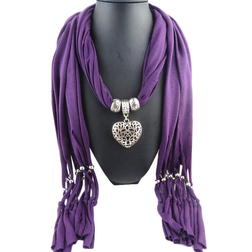 Purple Scarf Double Sided Heart Pendant