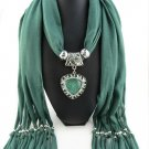 Green Scarf Faux Gem Heart Pendant