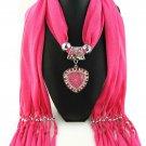 Pink Scarf Faux Gem Heart Pendant
