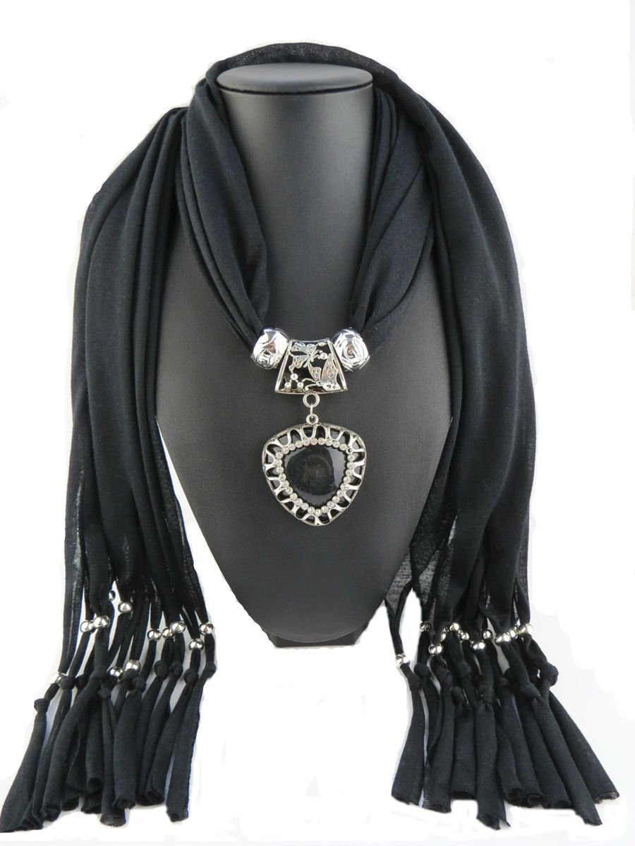 Black Scarf Faux Gem Heart Pendant