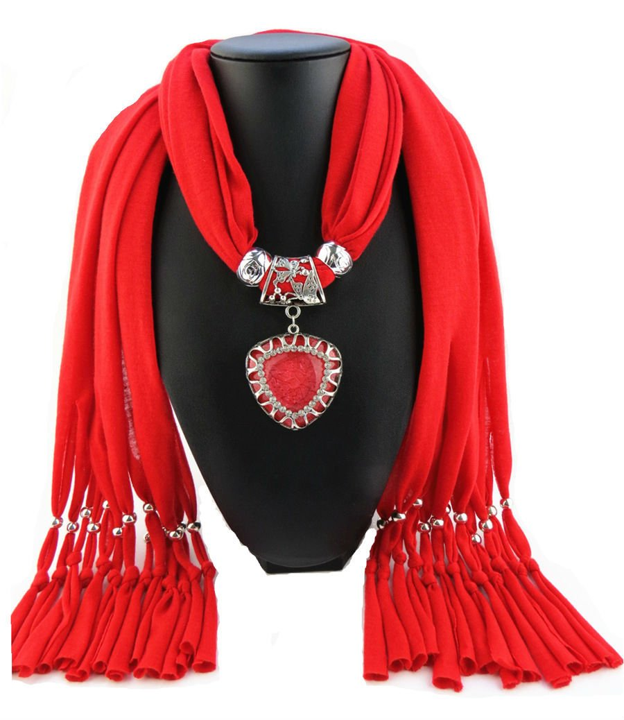 Red Scarf Faux Gem Heart Pendant