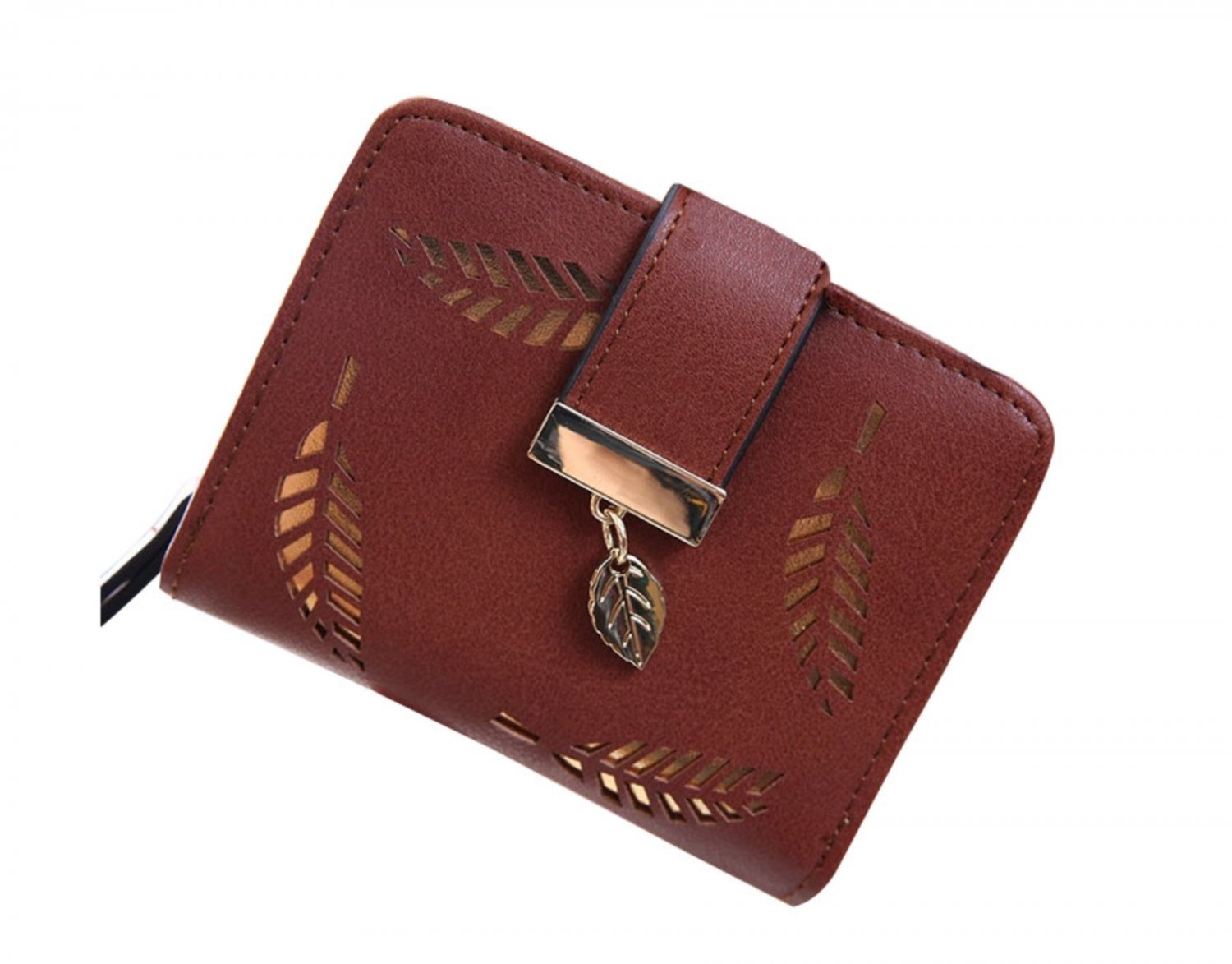 Brown Gold Leaf Small Wallet