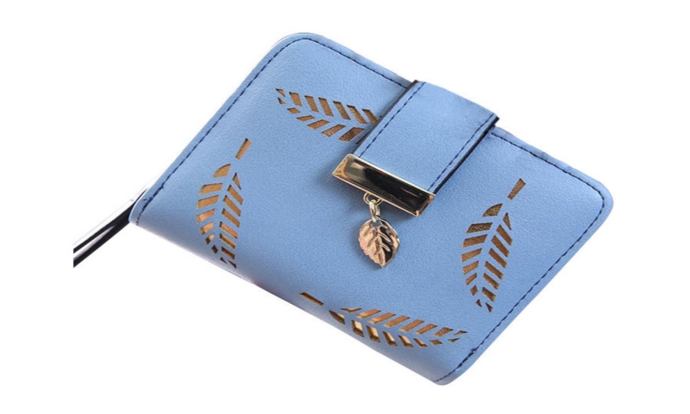 Blue Gold Leaf Small Wallet