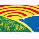 Valley Sunrise 5 x 15 Original four color lino-print - Heather Piazza