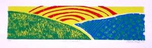 Valley Sunrise 5 x 15 Original four color lino-print - Heather Piazza