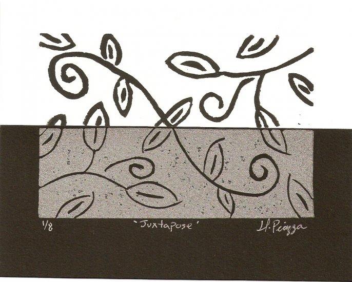 Juxtapose 3 x 4.5 Original two color lino-print - Heather Piazza