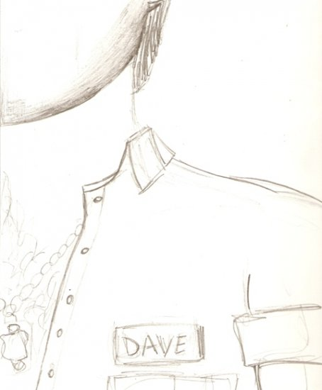 Dave - Original Drawing - Study for block print - Mark Knot