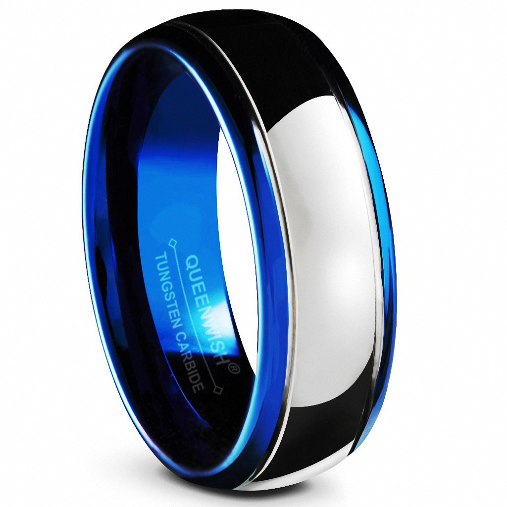 Queenwish 8mm Tungsten Carbide Wedding Bands Blue Silver Dome Gunmetal Promise Rings Size 7.5