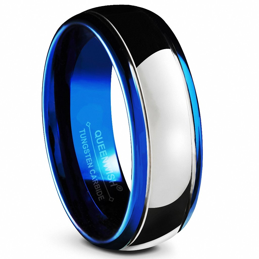 Queenwish 8mm Tungsten Carbide Wedding Bands Blue Silver Dome Gunmetal Promise Rings Size 8.5