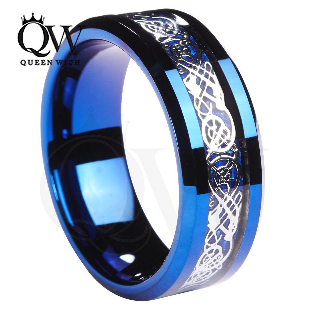 Queenwish 8MM Blue Tungsten Celtic wedding Ring Wedding Band size 7