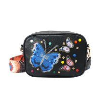 Soft PU Butterfly Embroidery Shoulder Strap Women Small Crossbody Bag