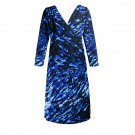2FOR1 V neck tunic faux warp dress 3/4 Sleeve Printed Jersey Summer Party Formal Bold Color
