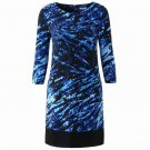 2 For 1 Clothes 3/4 Length Sleeve Printed Jersey Straight line Dress
