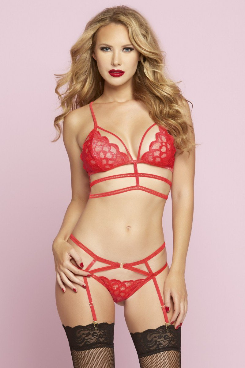 Red Multi Strap Bra Set