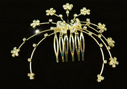 Gold tiara combs