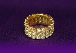 3 row gold plated rhinestone cocktail ring