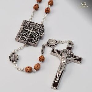 St. Benedict Silver Plated Rosary w/ Brown Wood Beads
