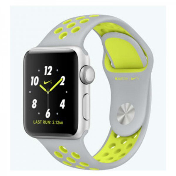 Apple Watch 2 38mm Silver Aluminum Case Nike Sport Band MNYP2 (Flat Silver/White)