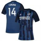 Corona #14 Men's LA Galaxy Away Soccer Jersey 2019 Replica Soccer Kit Blue