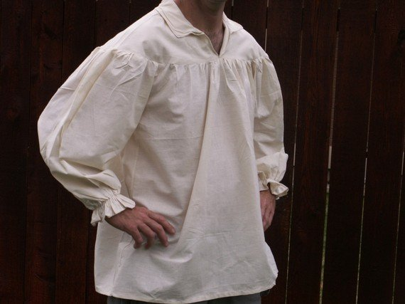Mens Whiteor unbleached Drop Yoke 2xl 3xl Renaissance Primitive PioneerPirate Poet Theatre Shirt