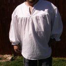Mens Ghillie Large or X Large White Primitive Renaissance Jacobite Drop Yoke Kilt Shirt