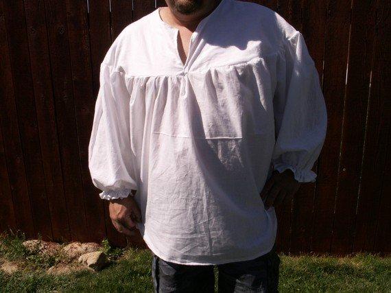 Mens Ghillie 2XL or 3XL White Primitive Renaissance Jacobite Kilt Shirt