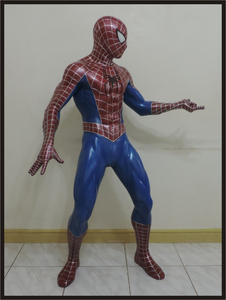 Custom Made Life Size Tobey Maguire Deluxe Spiderman Spinning Web Statue Prop