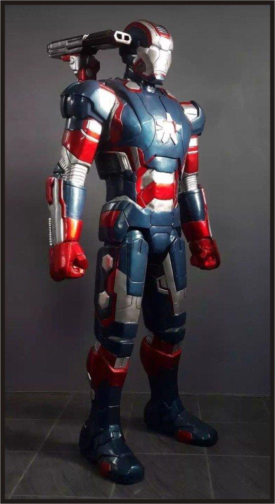 Custom Made Life Size Iron Man War Machine-Iron Patriot Superhero Statue Prop