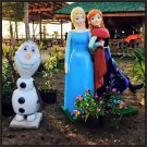 Custom Made Life Size Frozen Elsa-Anya Back to Back & Olaf Statue Prop Set
