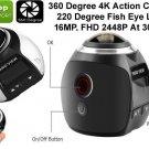 4K Ultra HD Action Camera Panoramic 360, 2448P, 16MP, 30FPS, Wi-Fi, OS, IP68 30M
