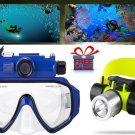 Camera Swim Goggles Waterproof 90 Lens 1/2.5 Inch 5MP + T6 LED Diving Headlamp