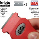 Razor Blade Scraper Tool for Paint, Glue, Stickers, Glass & More -+5 Blade - Red (AGSV1-1) U.S. Made