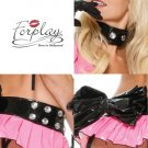 Diamond & Vinyl Choker and Belt with Bow Set by Forplay