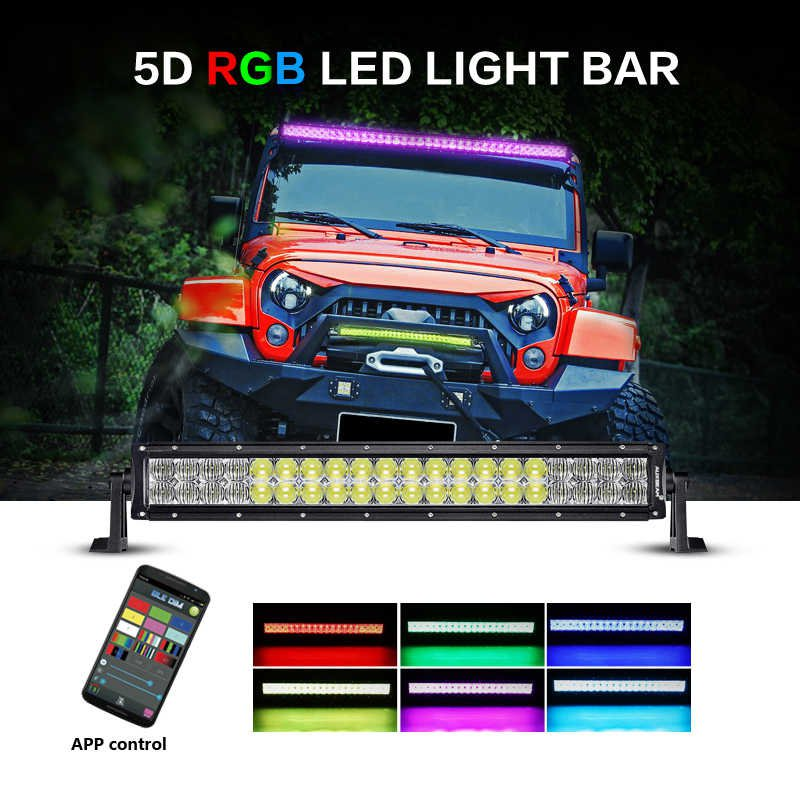 V-Series 22 inch 120W Combo Straight RGB LED Light Bar (5D Projector Lens)