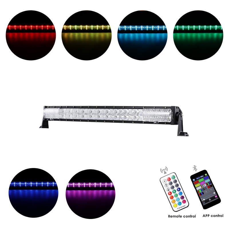 Cross-2 Series 32 inch 180W RGB Curved Combo Beam LED Light Bar (RGB Cross-style DRL)