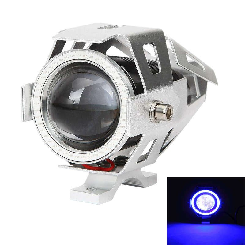 3.5 INCH CREE-U7 SILVER MOTORCYCLE SPOTLIGHT LED DRIVING LIGHT WITH DRL FUNCTION (WHITE+BLUE LIGHT)