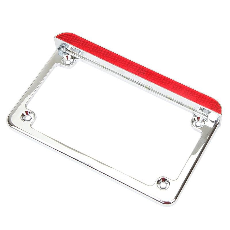 UNIVERSAL MOTORCYCLE LED LICENSE PLATE FRAME WITH BRAKE LIGHT